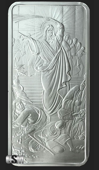 10 Oz Jesus Clears The Temple Silver Bullion Bars 999