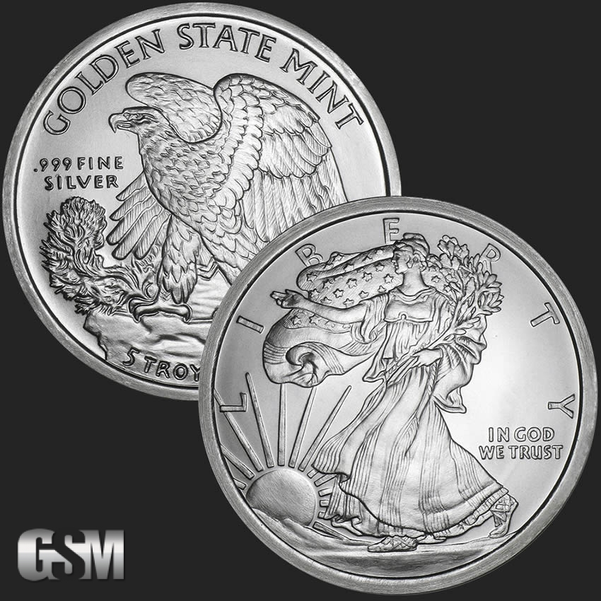 5 Oz Walking Liberty Silver Round 999 Fine Golden State