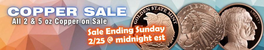 2 oz copper bullion and 5 oz copper bullion on sale now