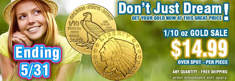 Tenth oz Gold bullion rounds on sale