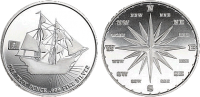 Pirate Ship Compass Custom Minted Silver Round